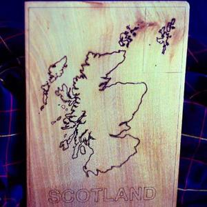 Laser engraved Scotland Map - A5